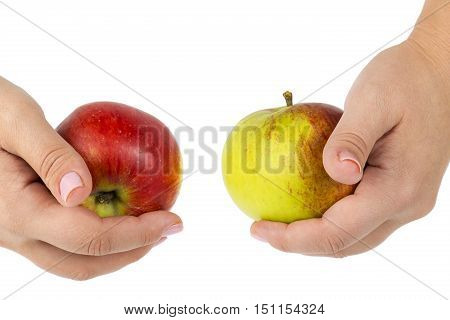 Woman's hands holding red and green apples. Isolated on white background.