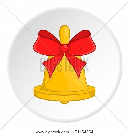 Bell with red bow icon. cartoon illustration of bell vector icon for web