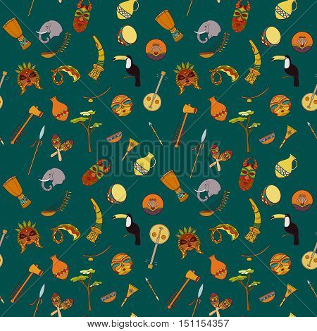 Hand-drawn seamless african pattern. Vector illustration can be used for wallpaper, website background, wrapping paper. Sketch elements of elephant, toucan, drum, sharers, horn, vase, plate, spear