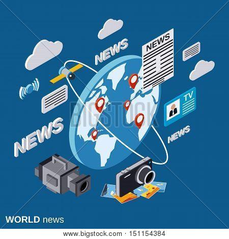 World news flat isometric vector concept illustration