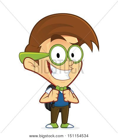 Clipart picture of a nerd geek cartoon character with backpack