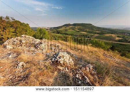 Palava rural summer landscape hills in background. Southern MoraviaCzech Republic
