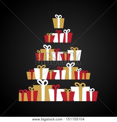 Abstract christmas tree made from Gift boxes . Christmas boxes, christmas presents, christmas tree. Holiday christmas card. Red, gold and white christmas gift boxes illustration.