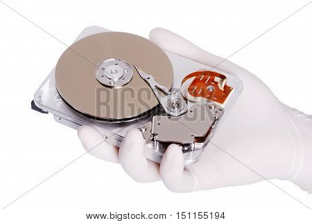 Computer hard disk helds a white gloved hand isolated