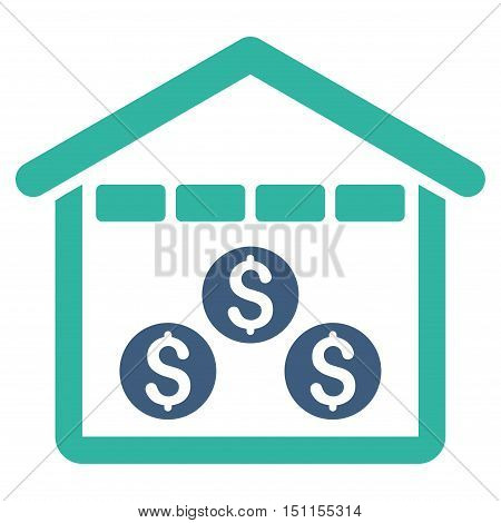 Money Depository icon. Glyph style is bicolor flat iconic symbol with rounded angles, cobalt and cyan colors, white background.
