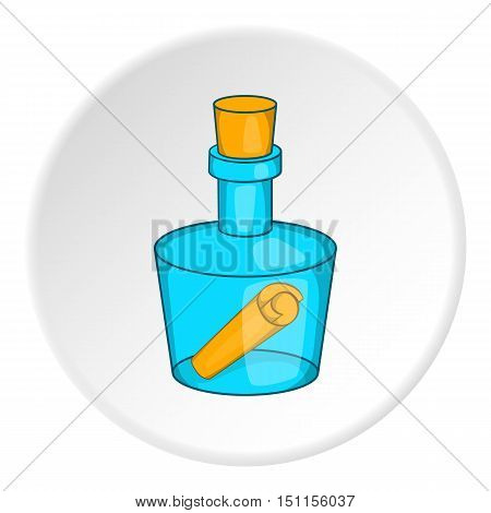 Bottle with letter icon. cartoon illustration of bottle with letter vector icon for web