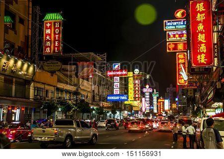 Thailand Bangkok City China Town Streets market at night 04.10.2015
