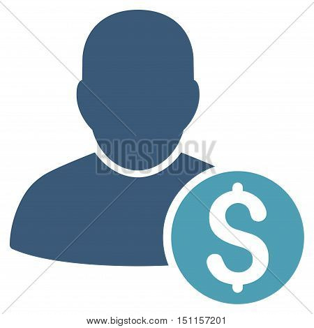 Businessman icon. Glyph style is bicolor flat iconic symbol with rounded angles cyan and blue colors white background.
