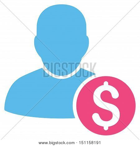 Businessman icon. Glyph style is bicolor flat iconic symbol with rounded angles, pink and blue colors, white background.