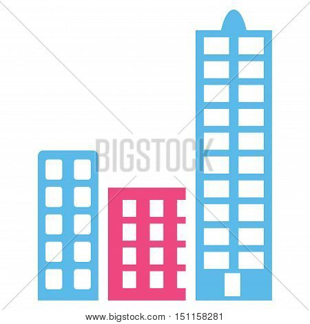 City icon. Glyph style is bicolor flat iconic symbol with rounded angles pink and blue colors white background.
