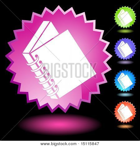 spiral bound book icon neon