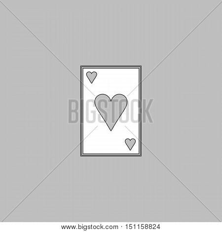 Hearts card Simple line vector button. Thin line illustration icon. White outline symbol on grey background