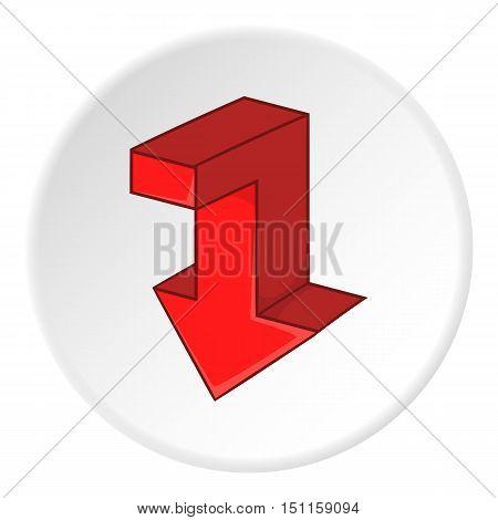Red broken arrow down icon. cartoon illustration of red broken arrow down vector icon for web