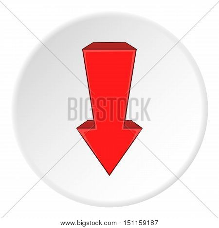 Red arrow down icon. cartoon illustration of red arrow down vector icon for web