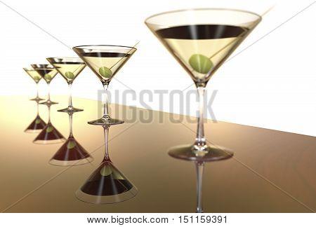 Martini Glasses 3D render isolated on white
