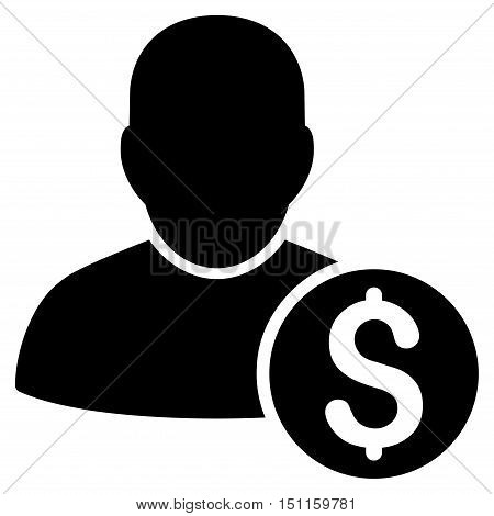 Businessman icon. Glyph style is flat iconic symbol with rounded angles, black color, white background.