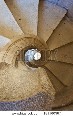 View on endless spiral cement stairway.From above