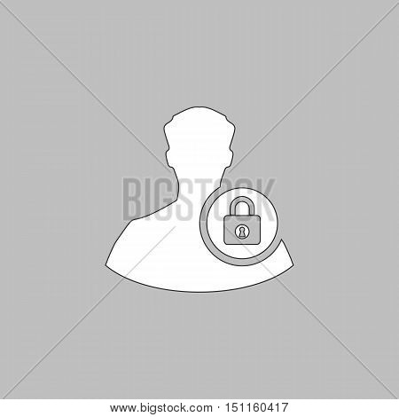 authenticate Simple line vector button. Thin line illustration icon. White outline symbol on grey background
