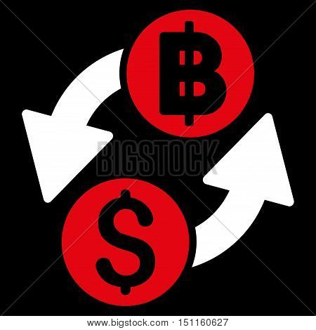 Dollar Baht Exchange icon. Glyph style is bicolor flat iconic symbol with rounded angles red and white colors black background.