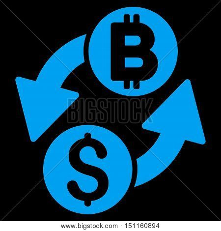 Dollar Bitcoin Exchange icon. Glyph style is flat iconic symbol with rounded angles, blue color, black background.