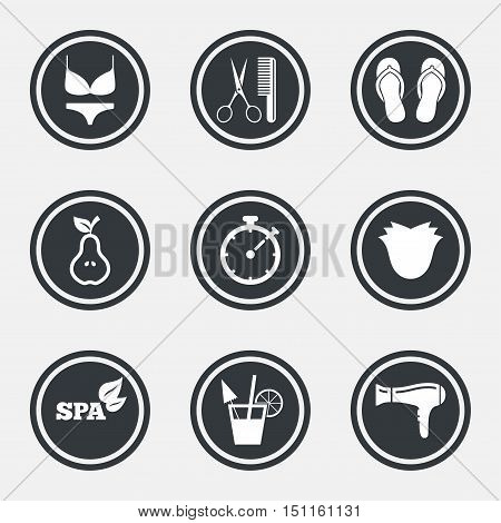 Hairdresser, spa icons. Diet cocktail sign. Lingerie, scissors and hairdryer symbols. Circle flat buttons with icons and border. Vector