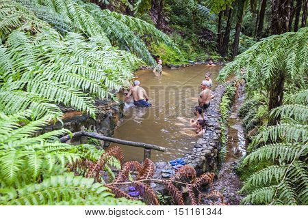 People Enjoy Bath In Natural Thermal Pools, Azores, Portugal