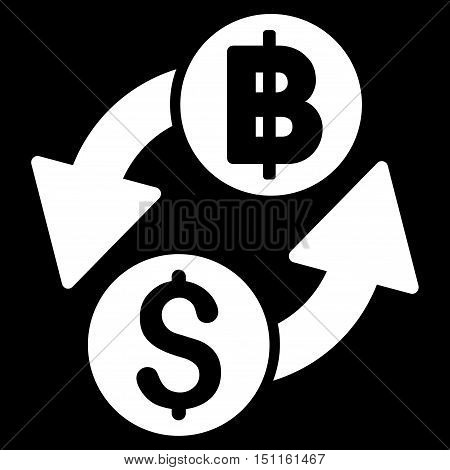 Dollar Baht Exchange icon. Glyph style is flat iconic symbol with rounded angles, white color, black background.