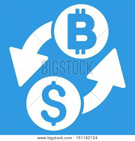 Dollar Bitcoin Exchange icon. Glyph style is flat iconic symbol with rounded angles, white color, blue background.