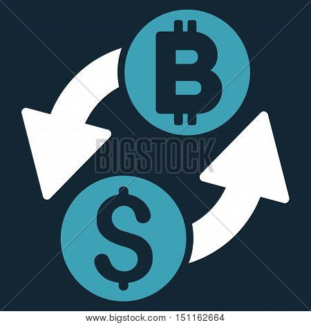 Dollar Bitcoin Exchange icon. Glyph style is bicolor flat iconic symbol with rounded angles, blue and white colors, dark blue background.