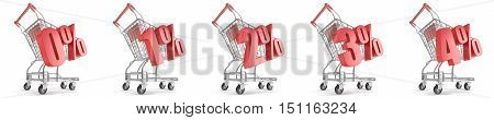 0% 1% 2% 3% 4% percent discount in front of shopping cart. Sale concept. 3D render illustration isolated on white background