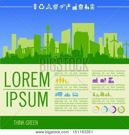 Vector ecological illustration with downtown district and infographics