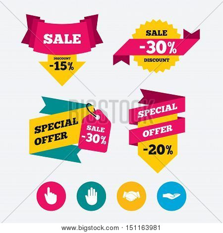 Hand icons. Handshake successful business symbol. Click here press sign. Human helping donation hand. Web stickers, banners and labels. Sale discount tags. Special offer signs. Vector
