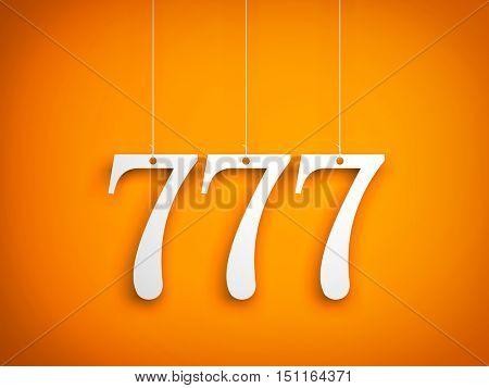 777 - white digits hanging on orange background. 3d illustration