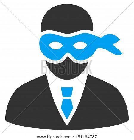 Masked Thief icon. Glyph style is bicolor flat iconic symbol with rounded angles, blue and gray colors, white background.