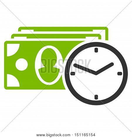 Cash Credit icon. Glyph style is bicolor flat iconic symbol with rounded angles, eco green and gray colors, white background.