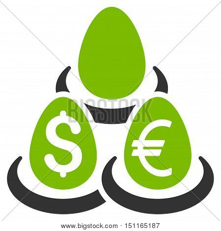 Currency Deposit Diversification icon. Glyph style is bicolor flat iconic symbol with rounded angles, eco green and gray colors, white background.