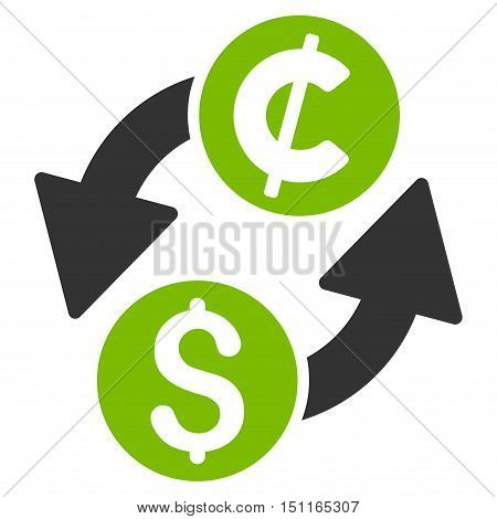 Dollar Cent Exchange icon. Glyph style is bicolor flat iconic symbol with rounded angles, eco green and gray colors, white background.