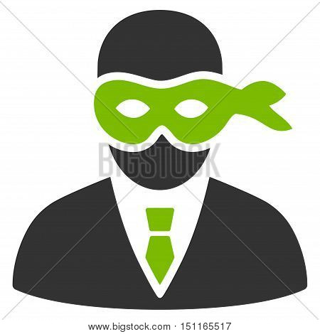 Masked Thief icon. Glyph style is bicolor flat iconic symbol with rounded angles eco green and gray colors white background.