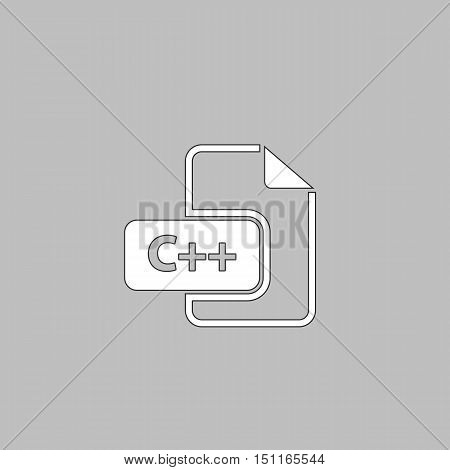 C plus plus Simple line vector button. Thin line illustration icon. White outline symbol on grey background