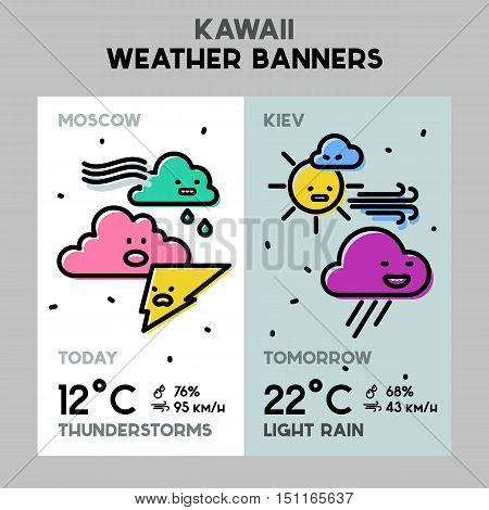 Weather conceptual banners for mobile apps. Line bold design vector illustration online web banner