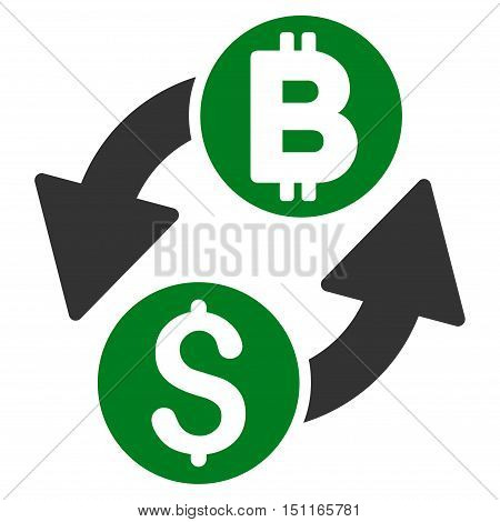 Dollar Bitcoin Exchange icon. Glyph style is bicolor flat iconic symbol with rounded angles green and gray colors white background.