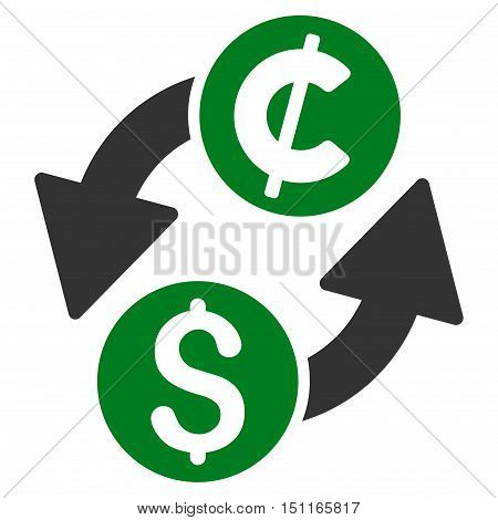 Dollar Cent Exchange icon. Glyph style is bicolor flat iconic symbol with rounded angles green and gray colors white background.