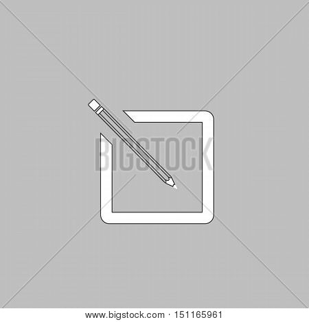 subscription Simple line vector button. Thin line illustration icon. White outline symbol on grey background