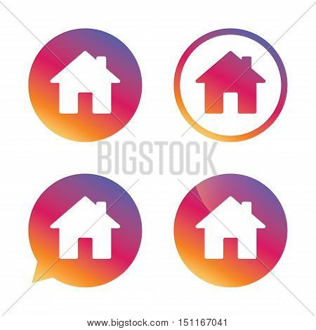 Home sign icon. Main page button. Navigation symbol. Gradient buttons with flat icon. Speech bubble sign. Vector