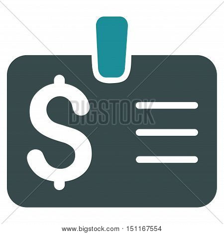 Dollar Badge icon. Glyph style is bicolor flat iconic symbol with rounded angles, soft blue colors, white background.