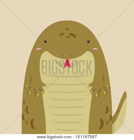 cute big fat komodo on light brown background