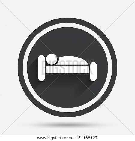 Human in bed sign icon. Travel rest place. Sleeper symbol. Circle flat button with shadow and border. Vector