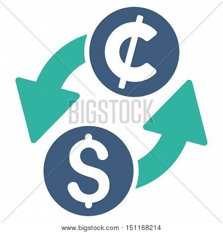 Dollar Cent Exchange icon. Glyph style is bicolor flat iconic symbol with rounded angles, cobalt and cyan colors, white background.