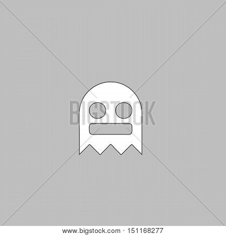 ghost Simple line vector button. Thin line illustration icon. White outline symbol on grey background