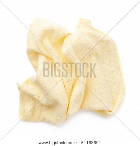 Yellow crumpled rag over white isolated background